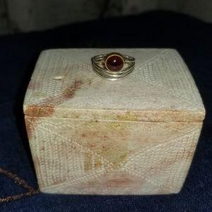Garnet & Two - Tone Handmade Freeform Ring.